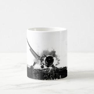 Crash landing of F6F on flight deck of_War Image Coffee Mug
