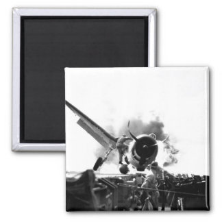Crash landing of F6F on flight deck of_War Image Square Magnet