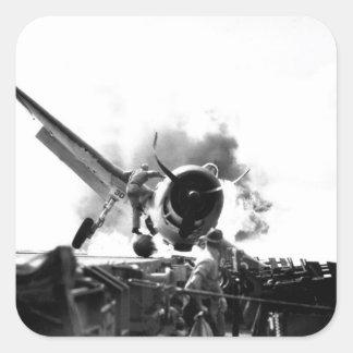 Crash landing of F6F on flight deck of_War Image Square Sticker