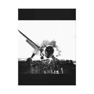 Crash landing of F6F on flight deck of_War Image Stretched Canvas Print