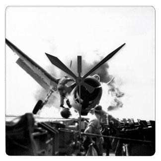 Crash landing of F6F on flight deck of_War Image Wall Clocks