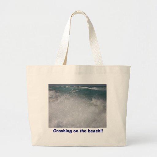 Crashing on the beach!! jumbo tote bag