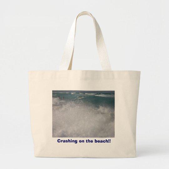 Crashing on the beach!! large tote bag