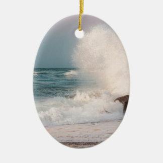 Crashing wave ceramic ornament