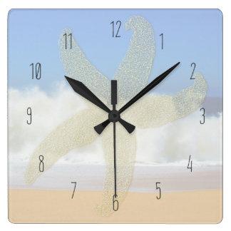 Crashing Waves Ocean Starfish Numbered Square Wall Clock