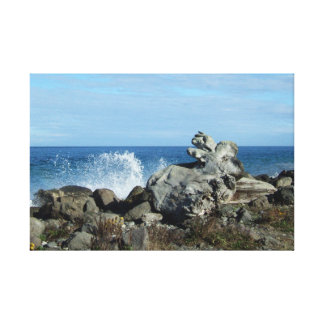 Crashing Waves Seascape With Driftwood and Rocks Canvas Print