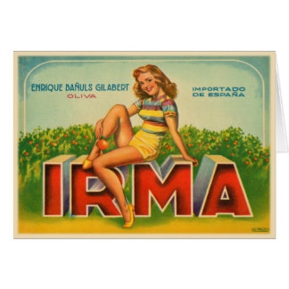 Crate Label from Spain with Vintage Olive Brand Greeting Card