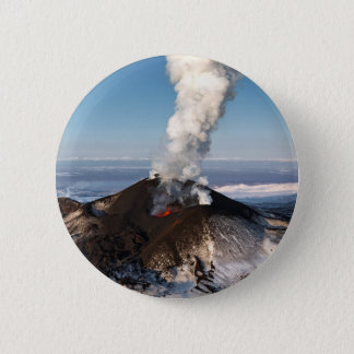 Crater eruption volcano: lava, gas, steam, ashes 6 cm round badge