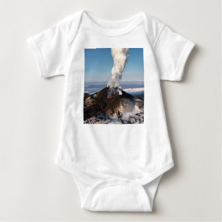 Crater eruption volcano: lava, gas, steam, ashes baby bodysuit