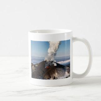 Crater eruption volcano: lava, gas, steam, ashes coffee mug