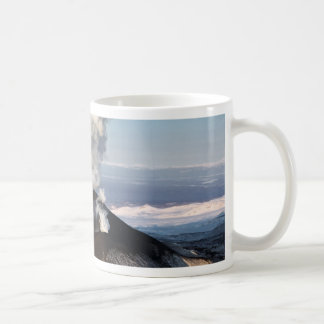 Crater eruption volcano: lava, gas, steam, ashes coffee mug