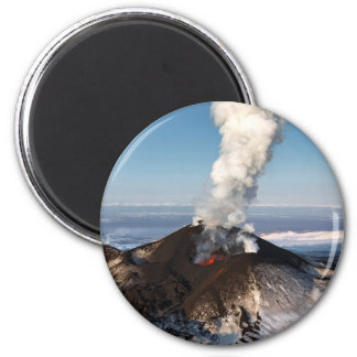 Crater eruption volcano: lava, gas, steam, ashes magnet
