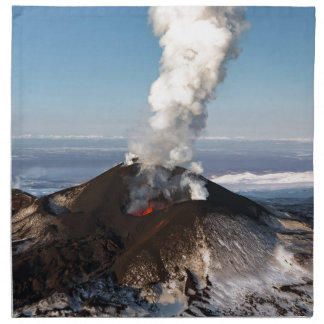 Crater eruption volcano: lava, gas, steam, ashes napkin