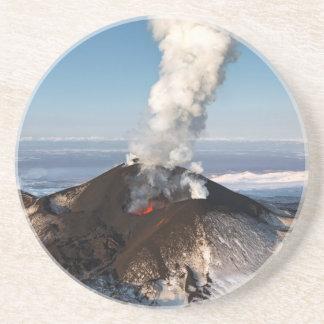Crater eruption volcano: lava, gas, steam, ashes sandstone coaster