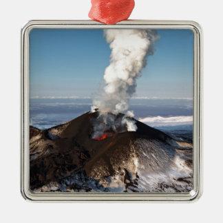 Crater eruption volcano: lava, gas, steam, ashes Silver-Colored square decoration
