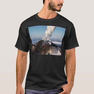 Crater eruption volcano: lava, gas, steam, ashes T-Shirt