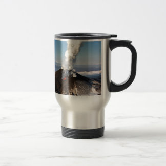 Crater eruption volcano: lava, gas, steam, ashes travel mug