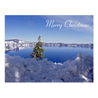 Crater Lake at winter - Merry Christmas Postcard