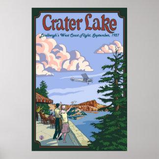 Crater Lake - Charles Lindbergh Flight - Poster