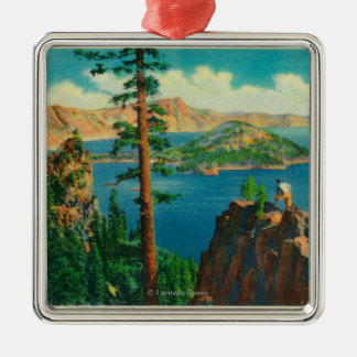 Crater Lake showing Wizard Island in distance Metal Ornament