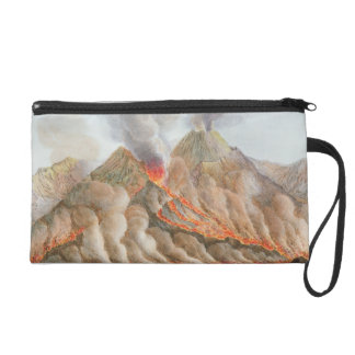 Crater of Mount Vesuvius from an original drawing Wristlet Purse