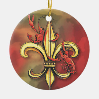 Crawfish & Alligator Fleur de Lis Ceramic Ornament