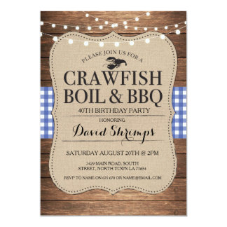 Crawfish Boil BBQ Any Age Birthday Party Lobster Card