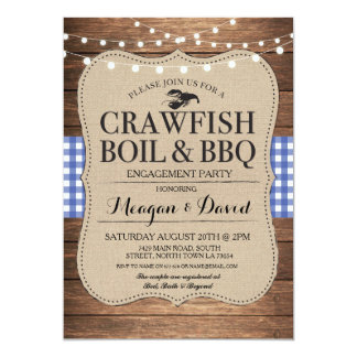 Crawfish Boil BBQ Engagement Party Shower Lobster Card