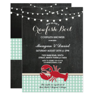 Crawfish Boil Engagement Party Check Light Lobster Card
