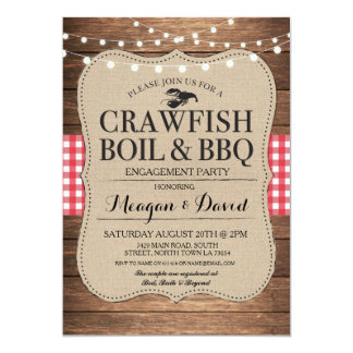 Crawfish Boil Engagement Party Shower Lobster Card