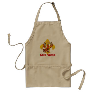 Crawfish Fleur De Lis, add names, text Standard Apron