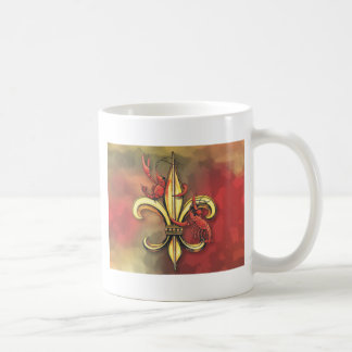 Crawfish Fleur De Lis Basic White Mug