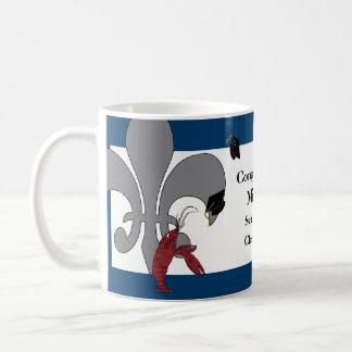 Crawfish Fleur de Lis Graduation Blue Silver Basic White Mug