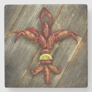 Crawfish Fleur-De-Lis Marble Coaster
