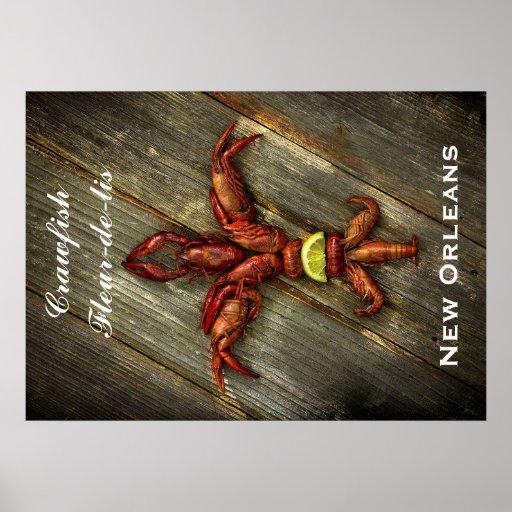 Crawfish Fleur-De-Lis Poster