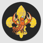 Crawfish Fleur De Lis Round Sticker