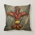 Crawfish Fleur-de-lis Throw Pillow