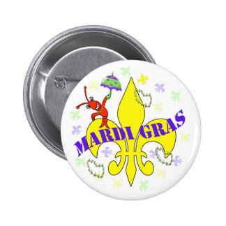 Crawfish Fleur de Lys Mardi Gras Pin