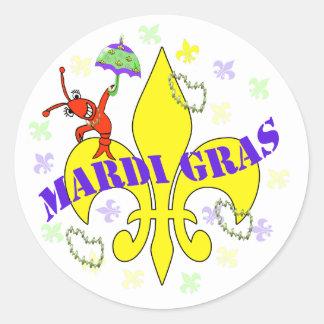 Crawfish Fleur de Lys Mardi Gras Round Sticker