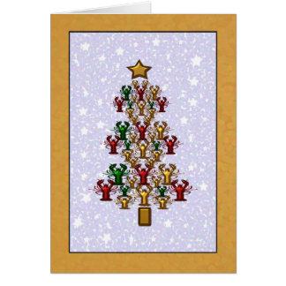 Crawfish Lobster Christmas Tree Stars (gold) Card