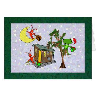 Crawfish Santa Alligator Cajun Bayou Christmas Card