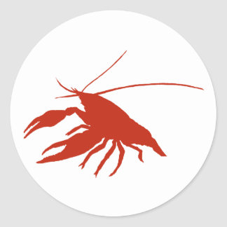 crawfish's silhouette (Red) Classic Round Sticker