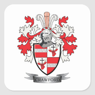 Crawford Family Crest Coat of Arms Square Sticker