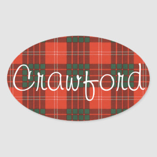 Crawford Scottish clan tartan - Plaid Oval Sticker
