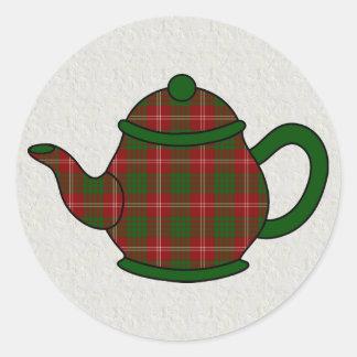 Crawford Tartan Plaid Teapot Classic Round Sticker