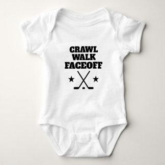 Crawl Walk Faceoff funny ice hockey baby bodysuit