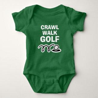 CRAWL WALK GOLF green bodysuit for new baby