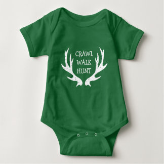 CRAWL WALK HUNT deer antler bodysuit for new baby