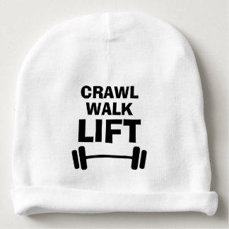CRAWL WALK LIFT weightlifting baby beanie hat