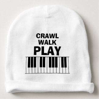 CRAWL WALK PLAY piano funny baby beanie hat